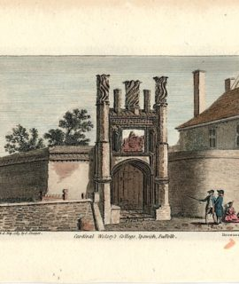 Antique Engraving Print, Cardinal Wolsey's College, Ipswich, Suffolk, 1785