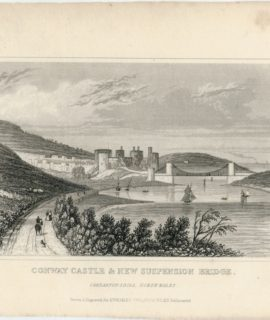 Antique Engraving Print, Conway Castle & New Suspension Bridge, Dugdales, 1840 ca.