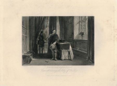 Antique Engraving Print, Cromwell viewing the body of Charles I, 1840 ca.