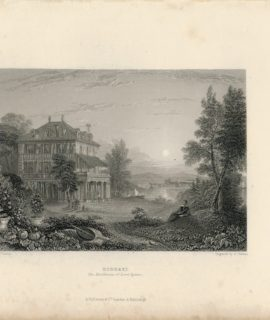 Antique Engraving Print, Diodati, The Residence of Lord Byron, 1835