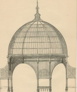 Antique Engraving Print, Vertical Section of Dome, 1802