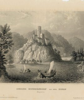 Antique Engraving Print, Schloss Heckersdorf and Der Donau, 1840