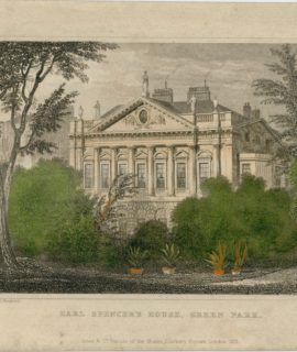 Antique Engraving Print, Earl Spencer's House, Green Park, 1831