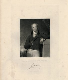 Antique Engraving Print, The R.t Hon.ble Charles Grey, Earl Greay, Fischer, Son & Co., London, 1844