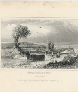Antique Engraving Print, Winchester, Hampshire, Dugdales 1830