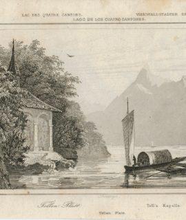 Antique Engraving Print, Tellen Platt, Lac des quatre cantons, 1830