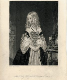 Antique Engraving Print, The Lady Elizabeth Seveson Gonver, 1860 ca.