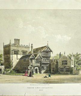 Antique Engraving Print, Turton Tower Lancashire, 1845