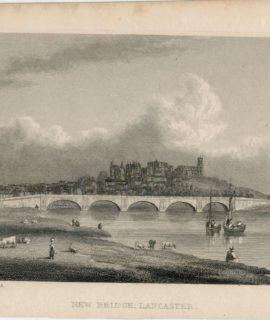 Antique Engraving Print, New Bridge, Lancaster, 1829