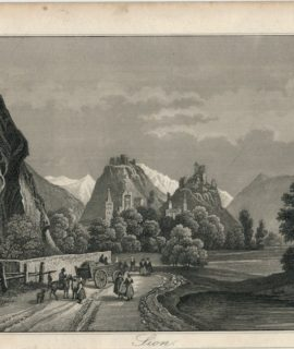 Antique Engraving Print, Sion, 1830 ca.