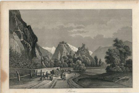 Antique Engraving Print, Sion, 1830 ca.
