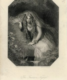 Antique Engraving Print, The Fountain Nymph, 1830 ca.