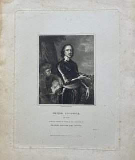 Antique Engraving Print, Oliver Cromwell, 1833