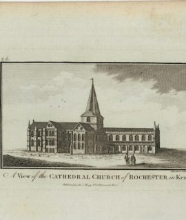 Antique Engraving Print, A View of the Cathedral Church of Rochester in Kent, 1790