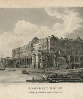 Antique Engraving Print, Somerset House, 1806