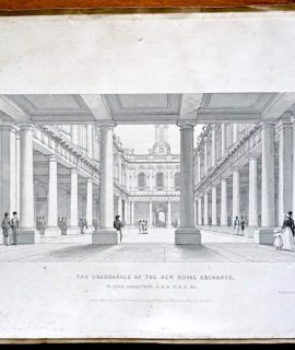 Antique Engraving Print, The Quadrangle of the New Royal Exchange, 1840