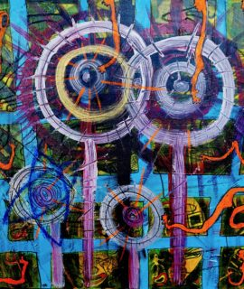 Through the window, mixed media on canvas by Mary Blindflowers©