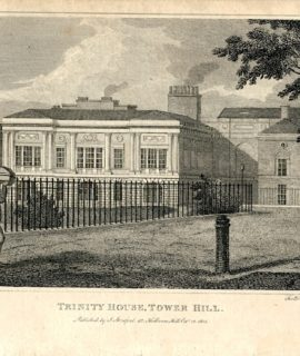 Antique Engraving Print, Trinity House, Tower Hill, 1805