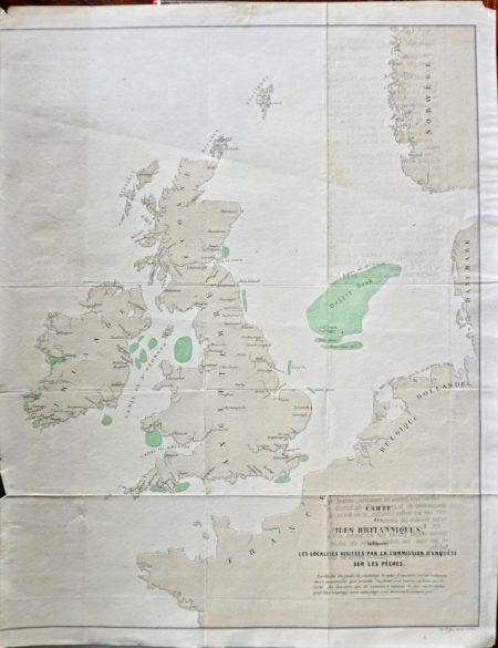 Rare Carte des Iles Britanniques indiquant les localités visitées par la commission d'enquête sur le pêche, 1890