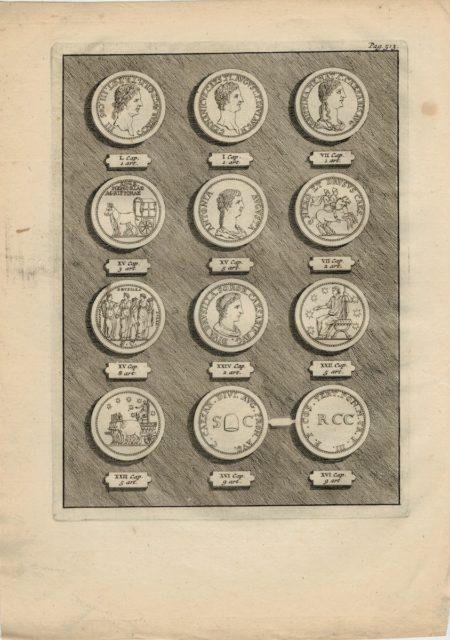 Antique Engraving Print, Ancient Coins, 1779