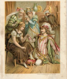 Vintage Print, illustration for a fairy tale, Cinderella, 1909