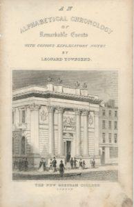 Antique Engraving Frontispiece, The New Gresham College, Tallis, 1830