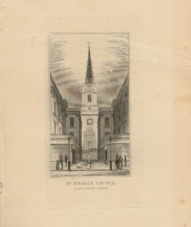 Antique Engraving Print, St. Bride's Church, London, 1845