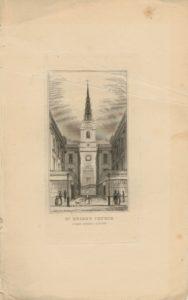 Antique Engraving Print, St. Bride's Church, Fleet Street, London, 1820 ca.
