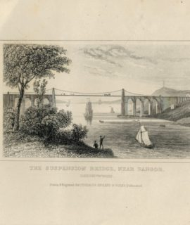 Antique Engraving Print, The Suspension Bridge, Near Bangor, 1830