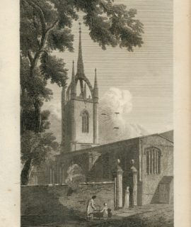 Antique Engraving Print, St. Dunstans in the East, London, 1815
