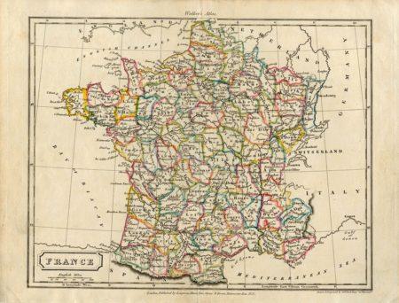 Antique Map, France, 1823