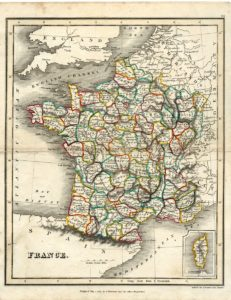 Rare Antique Map, France, 1819