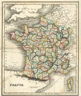 Rare Antique Map, France, 1819