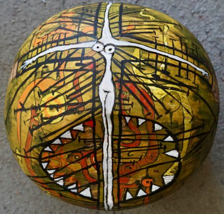 Femicide, Wooden-ball Hand painted by Mary Blindflowers©