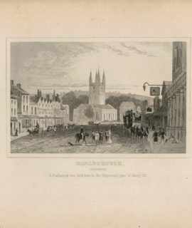 Antique Engraving Print, Marlborough, Wiltshire, 1840 ca.