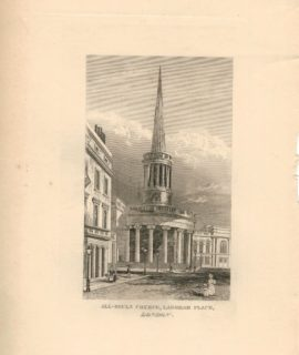 Antique Engraving Print, All-Souls Church, Langham Place, London, 1827
