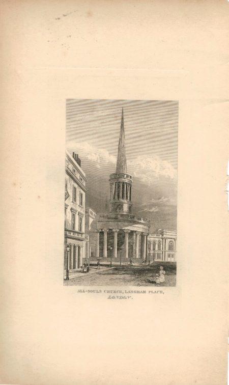 Antique Engraving Print, All-Souls Church, Langham Place, London, 1827