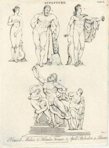 Rare Antique Engraving Print, Venus, Hercules, Apollo, Laocoon, 1827