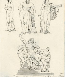 Rare Antique Engraving Print, Venus, Hercules, Apollo, Laocoon, 1827