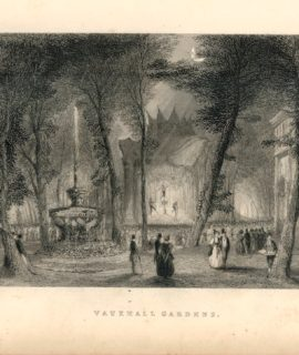 Antique Engraving Print, Vauxhall Gardens, 1838