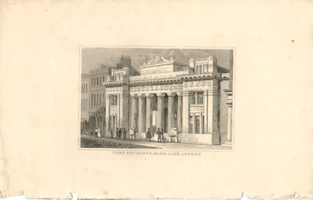 Antique Engraving Print, Corn Exchange Mark Lane, London, 1838