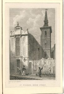 Antique Engraving Print, St, Mildred, Bread Street, 1816
