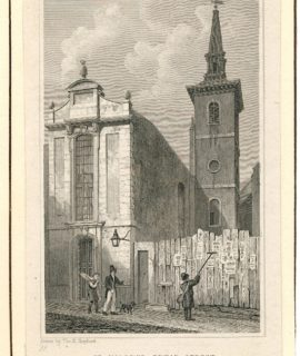 Antique Engraving Print, St, Mildred, Bread Street, 1816