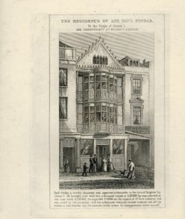 Antique Engraving Print, The Residence of Sir Paul Pindar, 1845
