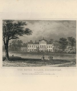 Antique Engraving Print, The Royal Palace, Kensington, Middlesex, 1819