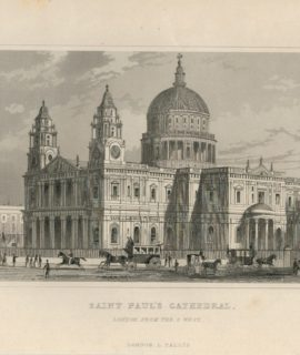 Antique Engraving Print, St. Paul's Cathedral, London, 1840 ca.