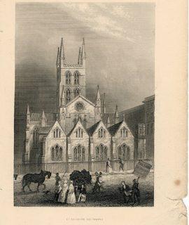 Antique Engraving Print, St. Saviours Southwark, 1851