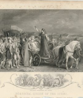 Antique Engraving Print, Boadicea, Queen of the Iceni, 1853