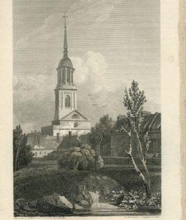 Antique Engraving Print, Shoreditch Church, 1816