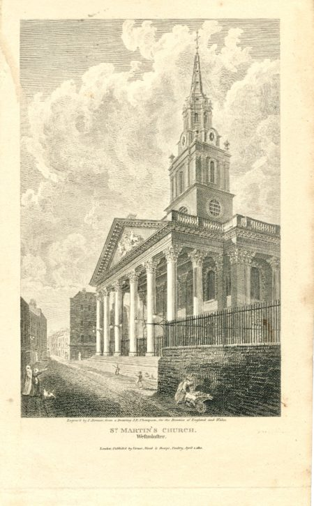 Antique Engraving Print, St. Martin's Church, Westminster, 1810